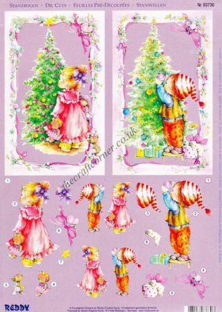 Children Decorating The Christmas Tree Die Cut 3d Decoupage Double Pack
